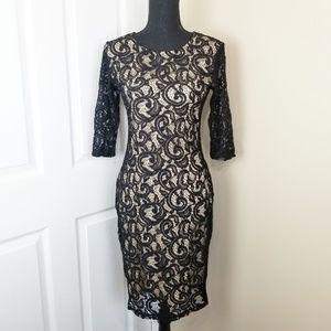 Olivia Matthews Black and Tan Lace Dress